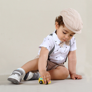 Baby Boy Newborn Clothing Set 1th Birthday Gift Infant Handsome Bow Outfit Hat + Rompers + Shorts + Belt + Shoes + Socks