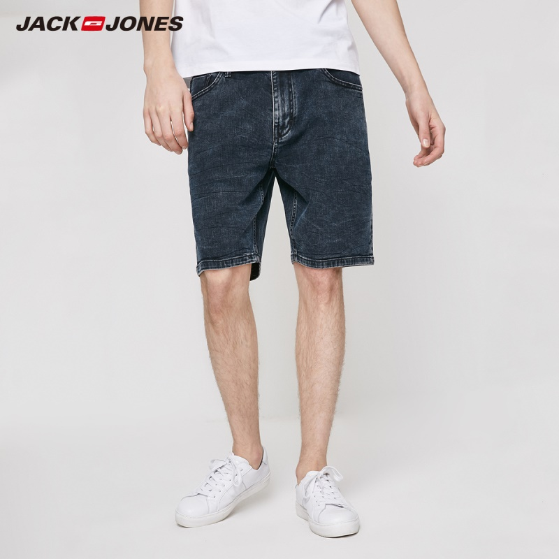 JackJones Men's Straight Fit Italian Fabric Stretch Denim Shorts Menswear| 219243515
