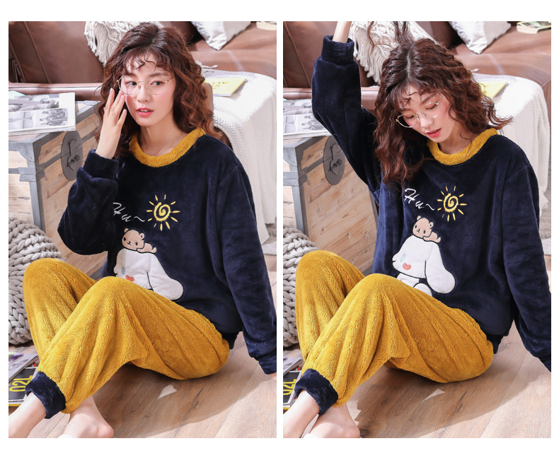 Long Sleeve Warm Flannel Pajamas Winter Women Pajama Sets Print Thicken Sleepwear Pyjamas Plus Size 3XL 4XL 5XL 85kg Nightwear 296