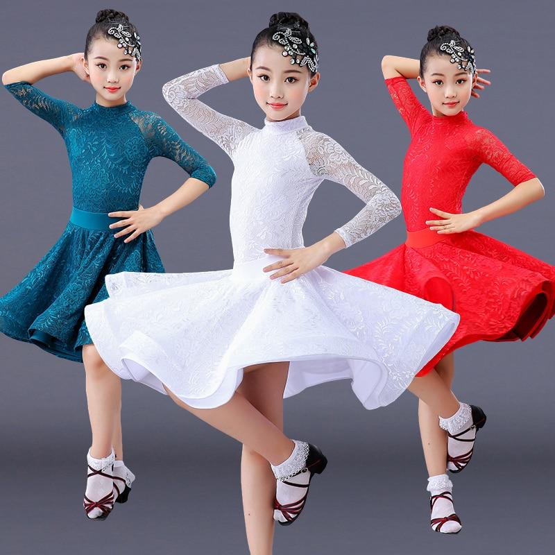 Lace Girl Latin Dance Dress Competition For Children Girls Competition Ballroom Kids Skirt Tango Salsa Dancewear Practice Wear