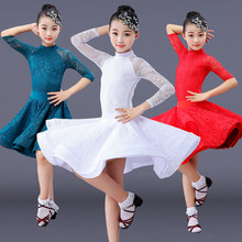 lace girl latin dance dress competition for children girls competition ballroom kids skirt tango salsa dancewear practice wear