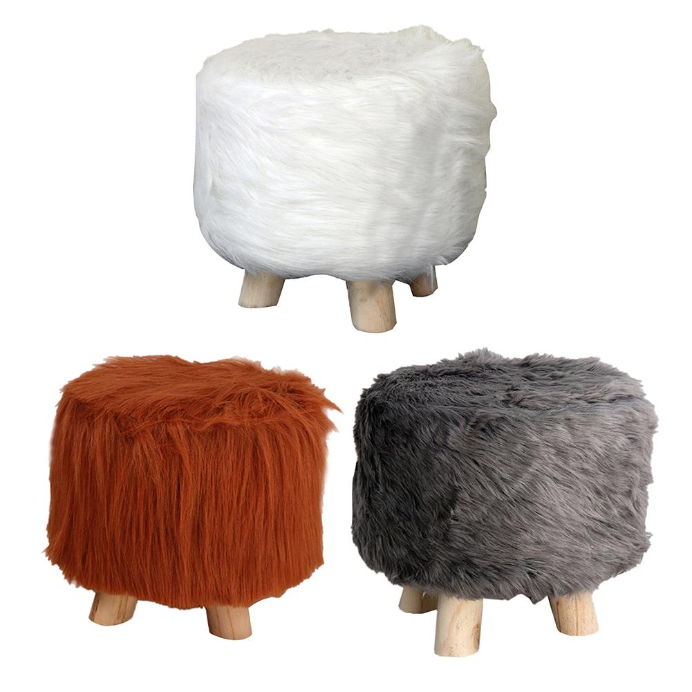Modern Luxury Upholstered Foot Stool Small Plush Round Ottoman Innovative Stool Home Accessories Wooden Leg Pattern Round
