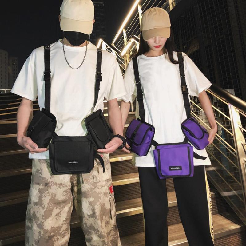 Hip Hop 3 In 1 Detachable Waist Fanny Belt Packs Casual Women Men Nylon Multi-pockets Chest Bags Phone Money Pouch 2019 New