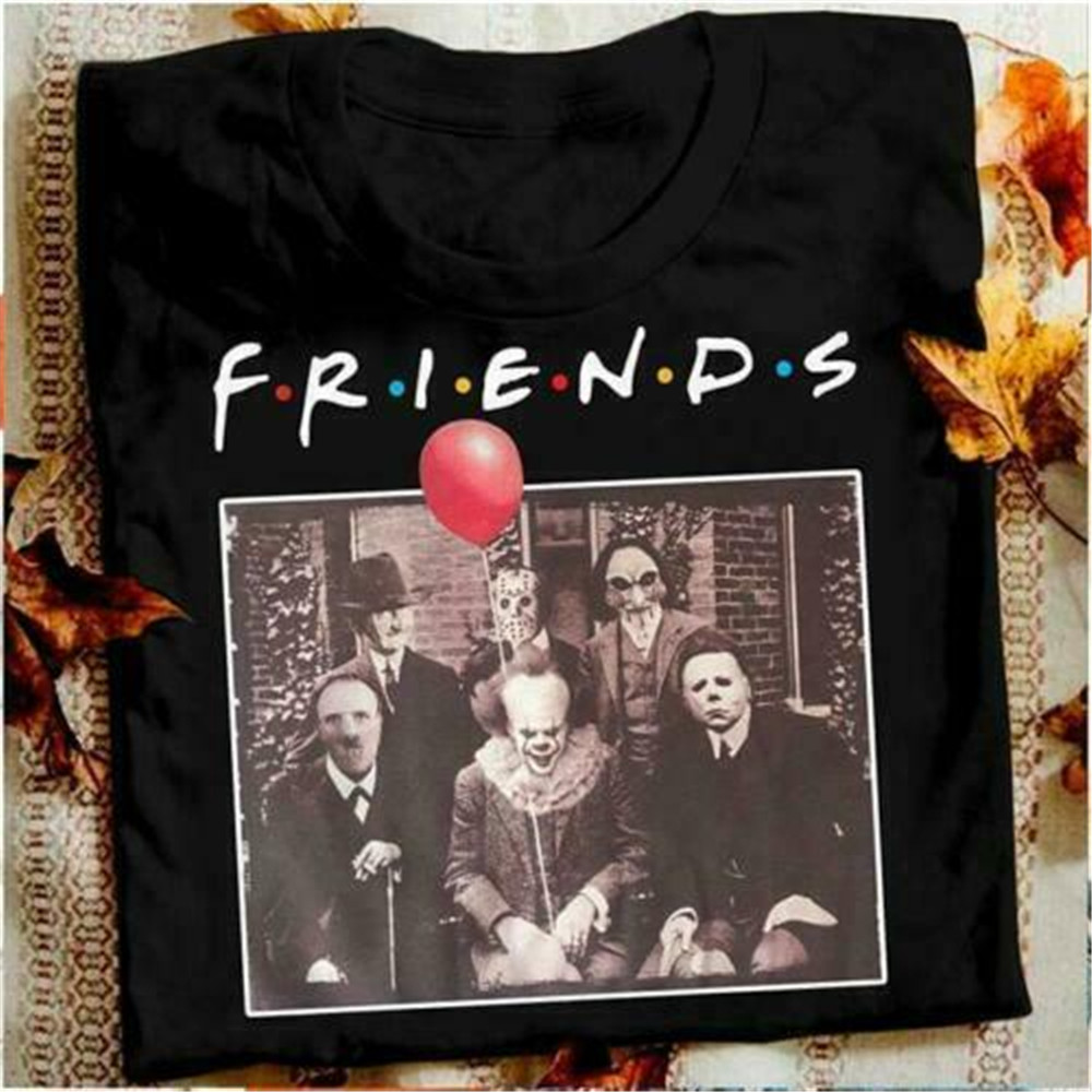 100% Cotton T-shirt Horror Friends <font><b>Pennywise</b></font> Michael Myers Jason Voorhees Halloween Men T-Shirt Cotton <font><b>Tshirts</b></font> for men and women image