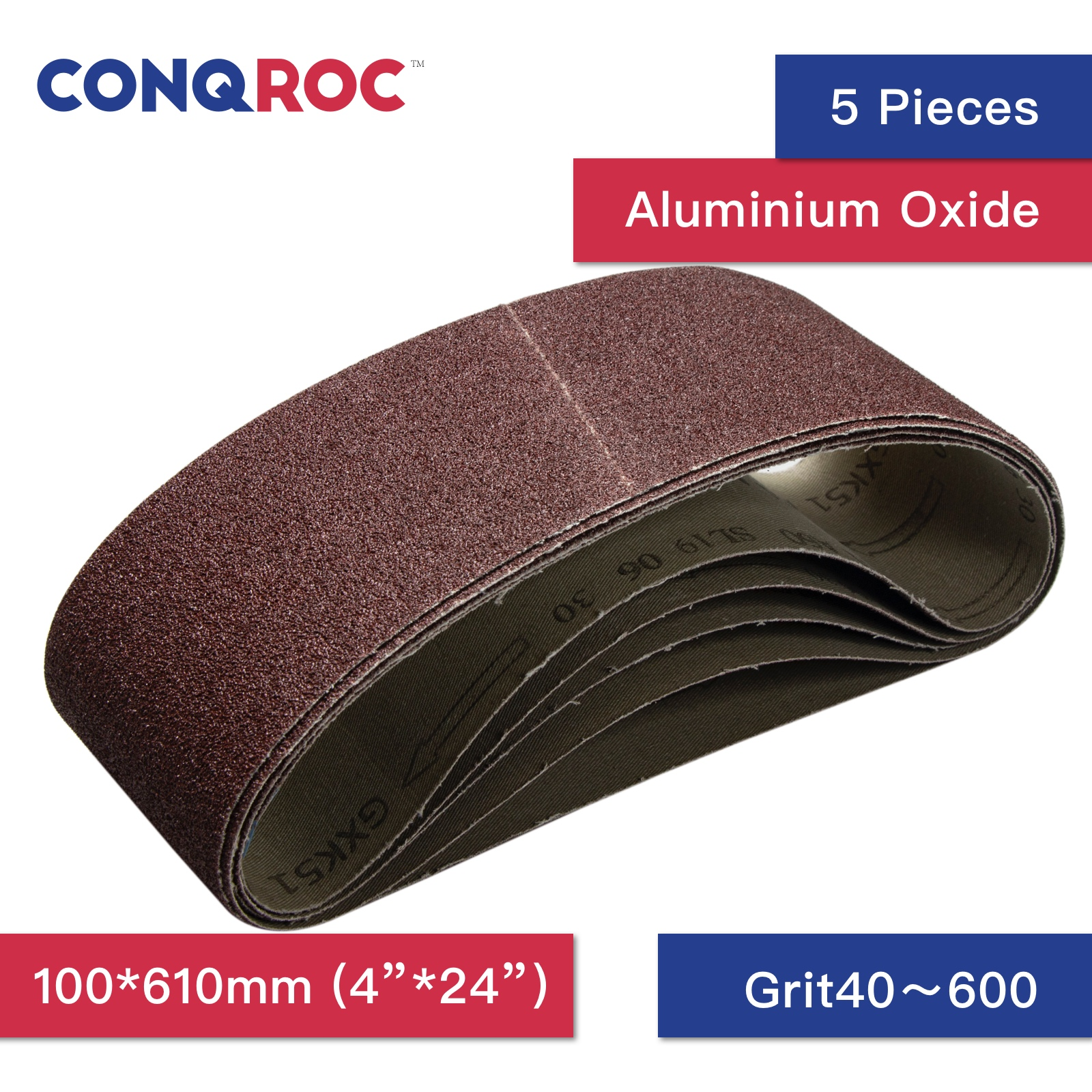 5 Pieces 100 X 610mm 4'' X 24'' Sanding Belt Aluminum Oxide Sander Belt Grit 40 60 80 100 120 180 240 320 400 600 Abrasive Tools