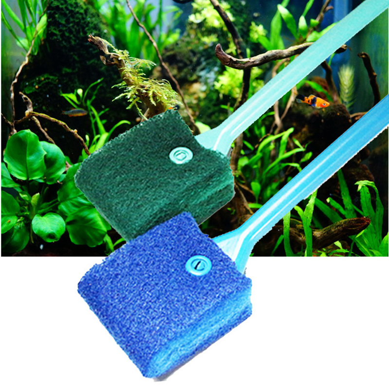 1Pc/lot  Fish Tank Nonslip Handle Sponge 40cm Cleaning Brush Green Aquarium Cleaner Plastic Tools Accessories