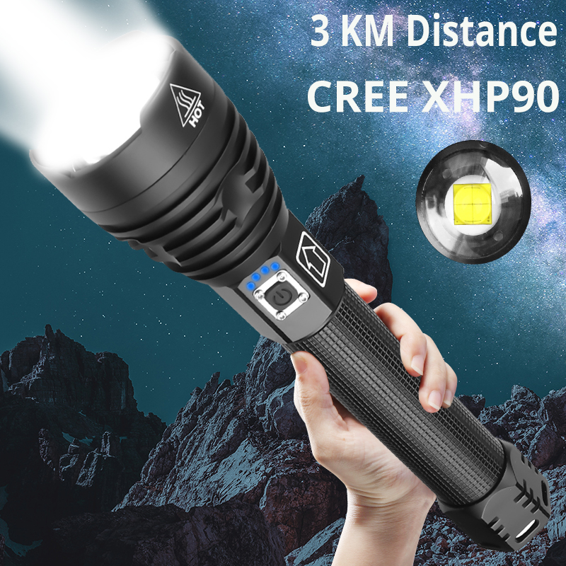 Xlamp XHP90 XHP70.2 LED Flashlight Super Powerful Torch USB XHP50 Lamp Zoom Torch Use 18650 26650 Rechargeable Battey For Hiking