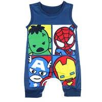Одежда для новорожденных мальчиков маленький хлопковый комбинезон для младенцев синий комбинезон без рукавов Хэллоуин сдельник для ребен...