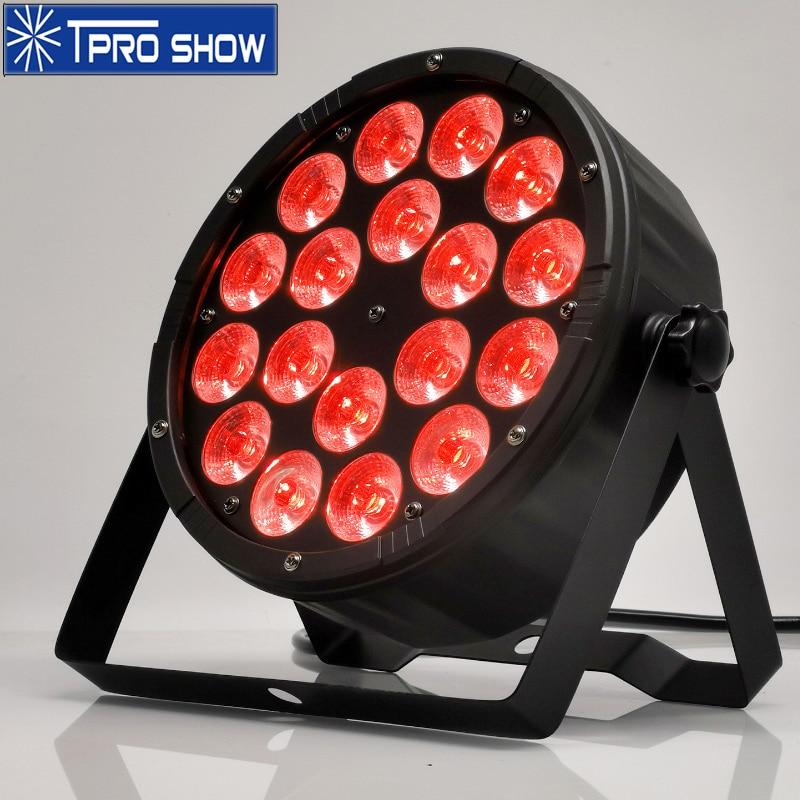 RGBW LED PAR Light 18x12W Flat Par Can Stage Lighting Effect Strobe Dimming Dmx512 Sound Party Lights For Wedding Club Disco DJ