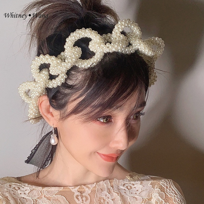 WHITNEY WANG 2022 Summer Fashion 2 Ways Wear Pearls Beading Chains Hairband For Women Headband Girls Headwear Hair Band