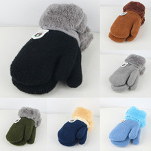 Зимние Детские перчатки для мальчиков и девочек, бархатные вязаные перчатки без пальцев, теплые плюшевые варежки, однотонные детские перчатки#4