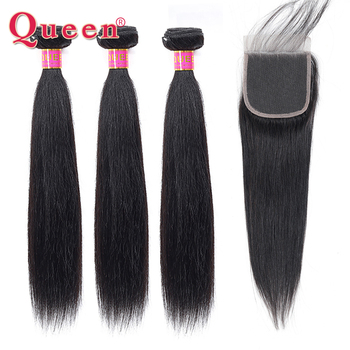 Queen Hair Products Straight Hair Bundles With Closure Peruvian Remy Human Hair 3/4 Bundles With Closure Natural Color Hair