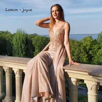 Lemon joyce Formal Evening Dresses 2020 Sexy V-neck Beading See-through A-line Party Dress robe de soiree Plus Size