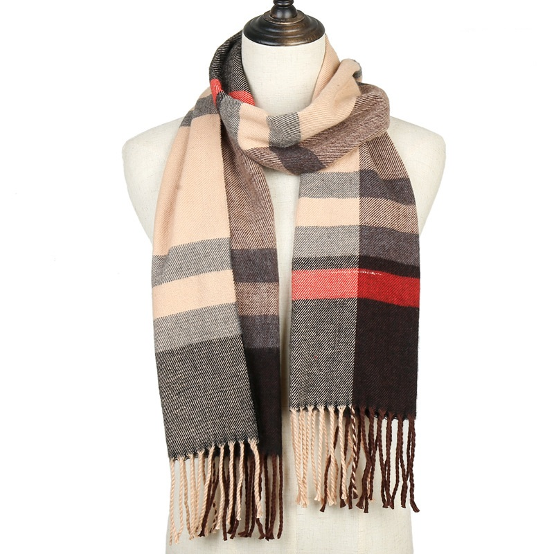 2019 New Women's Winter Scarf Soft Warm Plaid Cashmere Scarves Female Shawls And Wraps Pashmina Ladies Bandana Hijabs Echarpe