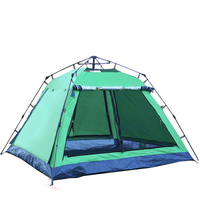 Outdoor camping 3 4 people four corner square top four door belt hall automatic fast open camping sun shade tent