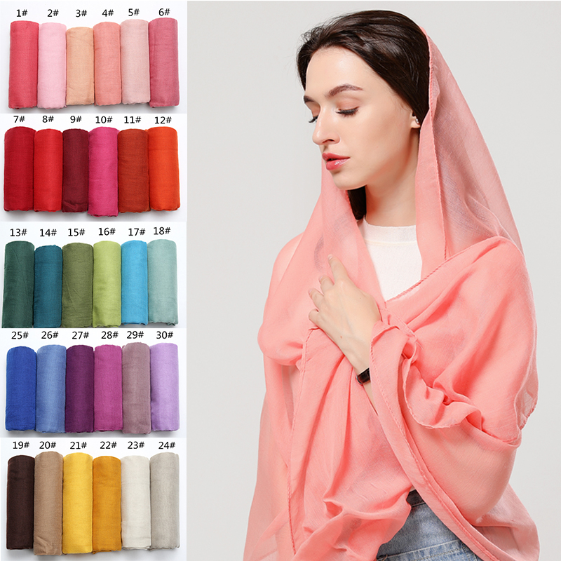 Women Cotton Scarf Soft Foulard Hijab Lady Solid Scarves Thin Plain Bubble Headband Shawls Wraps Pashmina Scarfs
