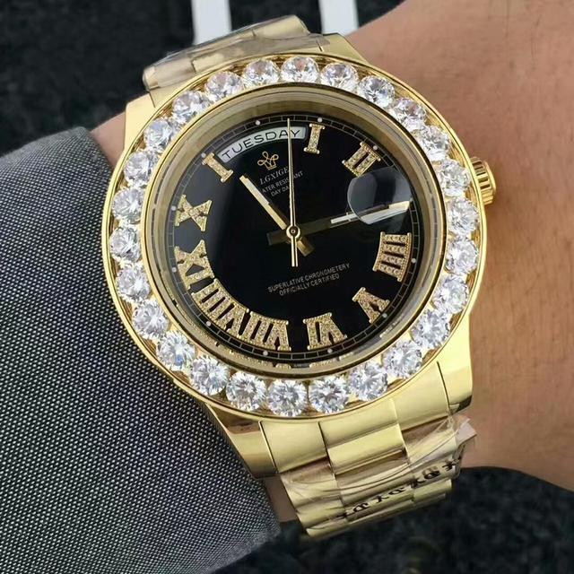 LGXIGE Men's Big Diamond Luxury Roman Numbers Stainless Steel Calendar Date Display Waterproof Watches 4