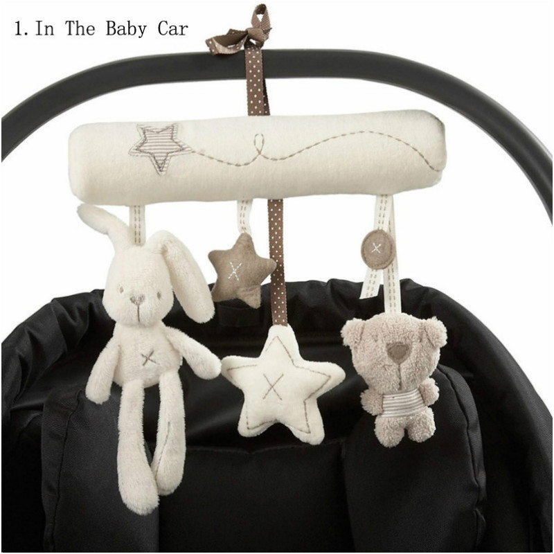 Cute Stroller Infant Baby Rattle Hanging Toys Rabbit Star Shape Musical Toys Bunny Bed Rattles Hand Bell Plush Toys