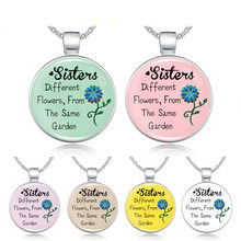 Sisters, Best Friends Glass Pendant Friendship Women Necklace, Christmas Gifts,Different flowers,From The Same Garden Necklace(China)