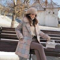 2019 Women Coat Outerwear Winter Clothing Fashion Warm Woolen Blends Female Elegant Double Breasted Woolen Coat MX18D9679