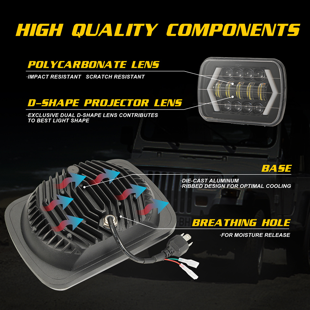 Image 4 - for Jeep Wrangler 300W 7 Inch Combo Led Light Bars Spot Flood Beam  Offroad Car Square LED Work Light Waterproof Fog Light-in Car Fog Lamp from Automobiles & Motorcycles