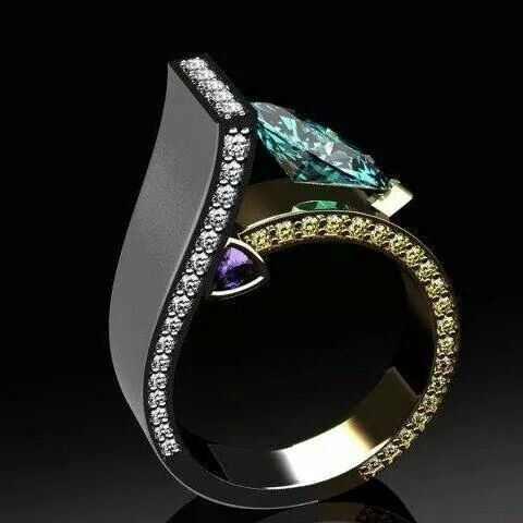 בציר נשי גיאומטרי אצבע טבעת בציר כסף אירוסין טבעת ייחודי סגנון כחול זירקון חתונת טבעות לנשים