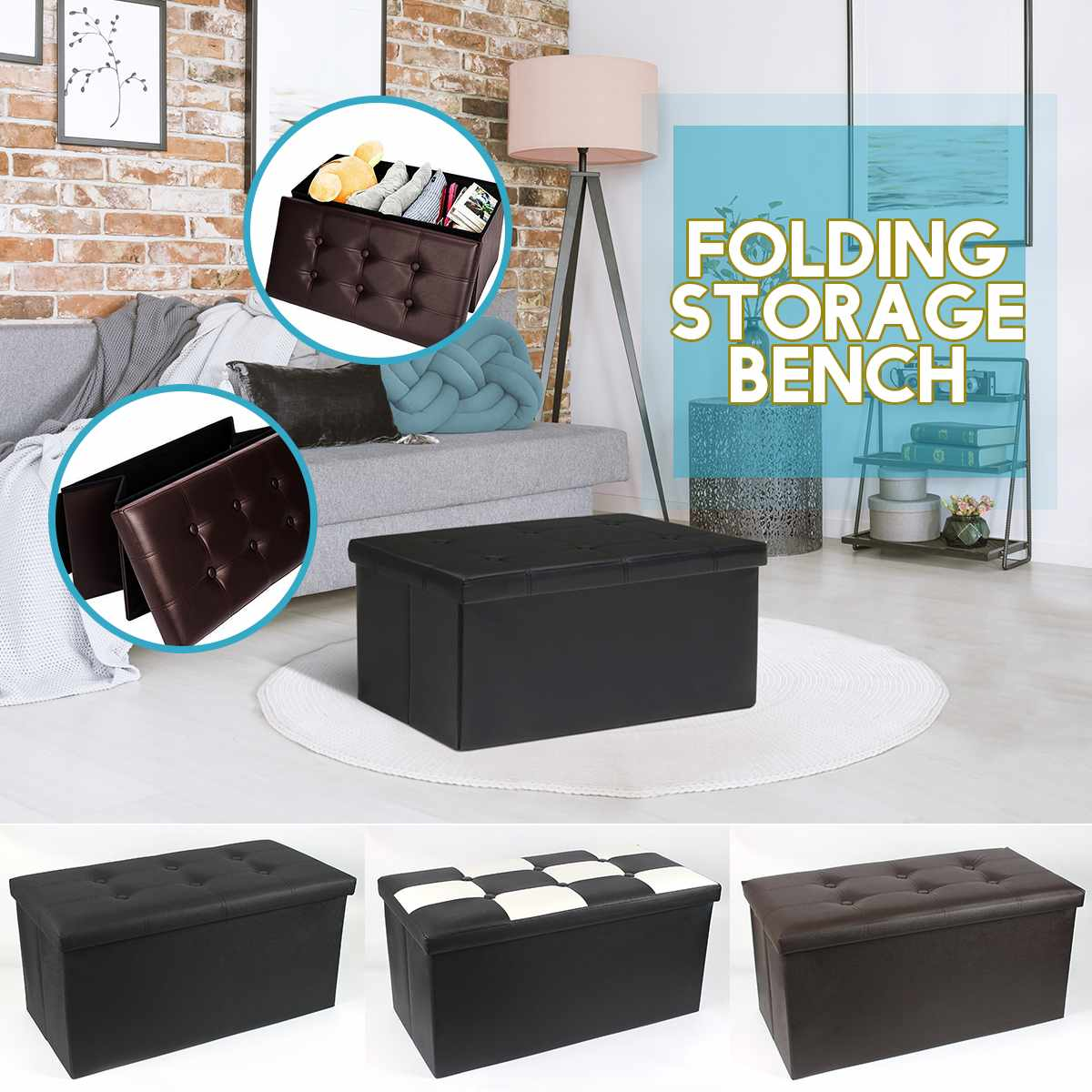 76x38x38cm Folding Cuboid Ottoman Bench PU Leather Pouffe Storage Box Lounge Seat Footstools Brown White Black Grid Pattern Home