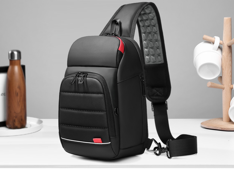 Men's Water Repellent Chest Bag With USB Charging Port