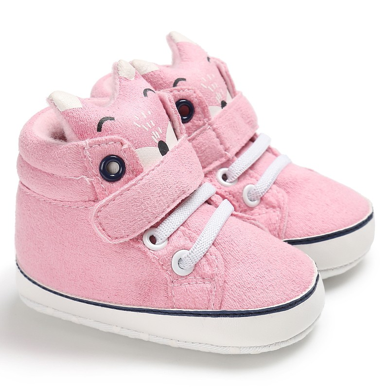 2020 Baby Autumn Shoes Kid Boy Girl Fox Head Lace Cotton Cloth First Walker Anti-slip Soft Sole Toddler Sneaker 1 Pair