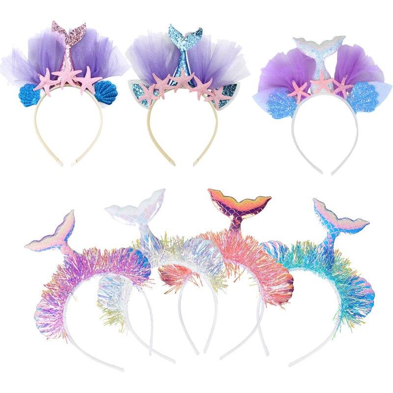 Повязка на голову для вечеринки с маленькой русалочкой WEIGAO, головной убор с хвостом Русалочки, реквизит для фото для девочек на 1-й день рожд...