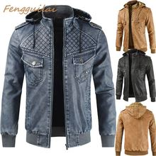 FENGGUILAI 2019 New Fashion Autumn Male Leather Jacket Plus Size 3XL Black Brown Mens Stand Collar  Coats Biker Jackets