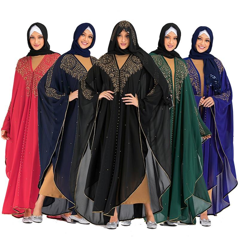 Open Dubai Abaya Kimono Cardigan Muslim Hijab Dress Turkish Islamic Clothing For Women Kaftan Caftan Robe Djelaba Femme Niqab