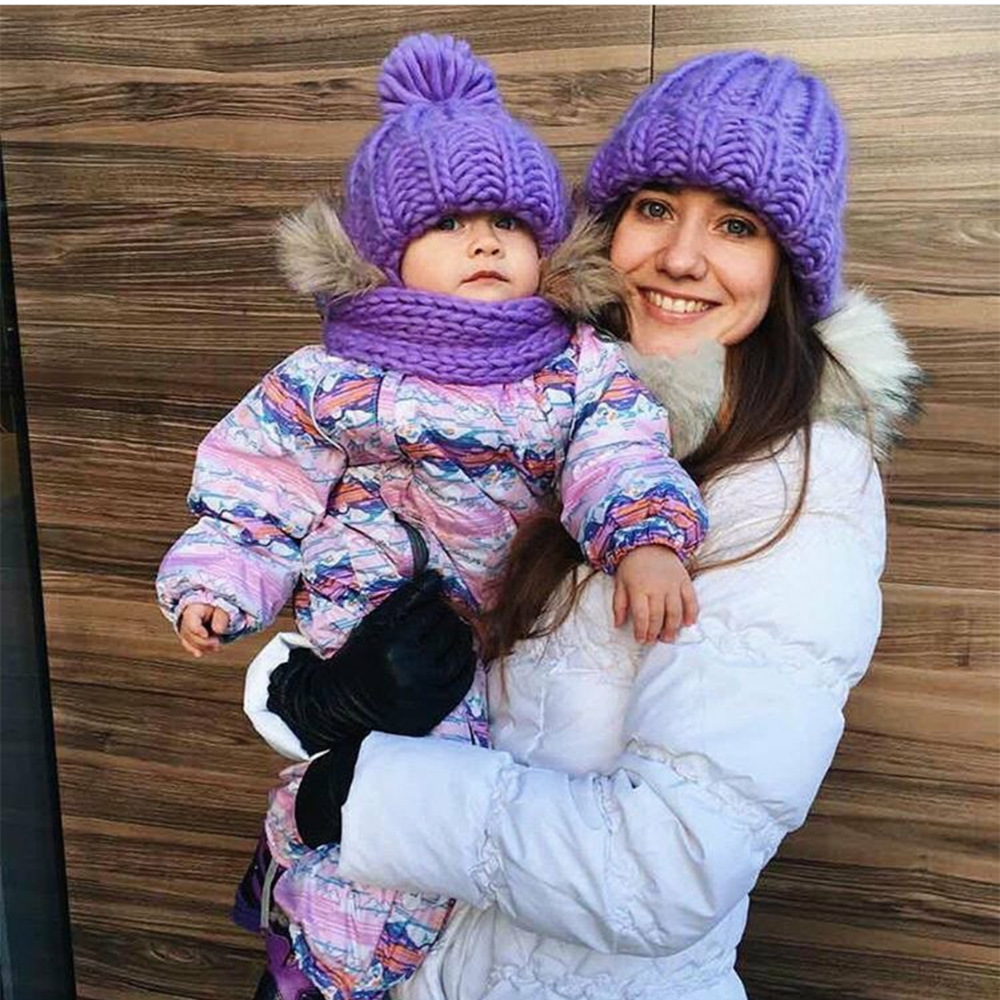 Women Winter Knitted Beanies Hat Thick Soft Warm Coarse Large Knitted Solid Hat Female Ice Ski Bonnet Skullies Beanies Hat Cap 58