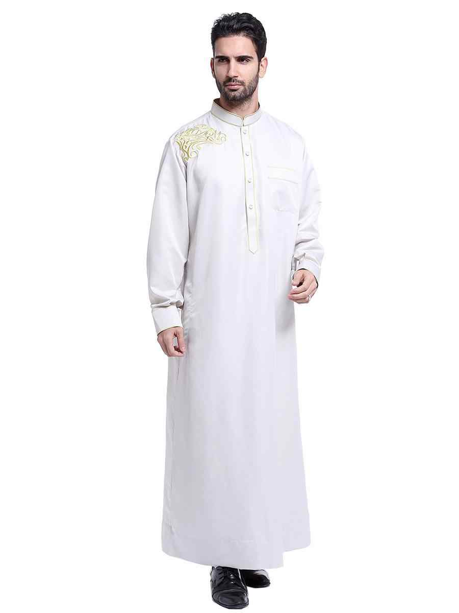 Fashion Men Robes Muslim Clothing Long Sleeve Embroidery Arab Dubai Indian Middle East Islamic Man Jubba Thobe Plus Size 3XL