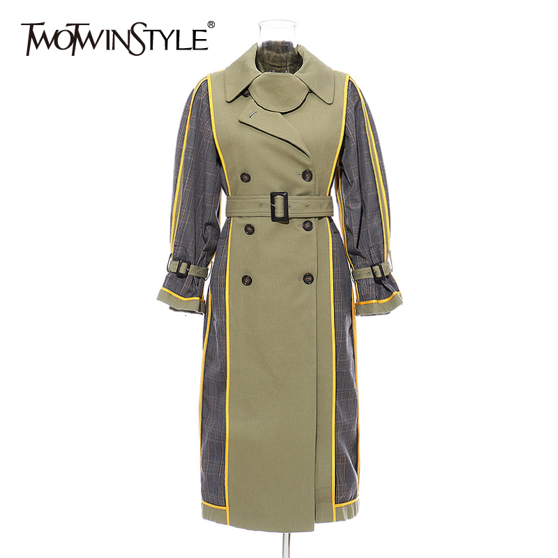 TWOTWINSTYLE Autumn Windbreaker For Women Long Sleeve Lapel Collar High Waist Sashes Hit Color Trench Coat Female Fsahion 2020