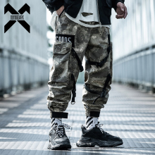 11 BYBB'S DARK Cargo Pants Men Streetwear Camouflage Military Pant Pocket Ribbon 2020 Fashion Elastic Waist Trousers Camo XN68