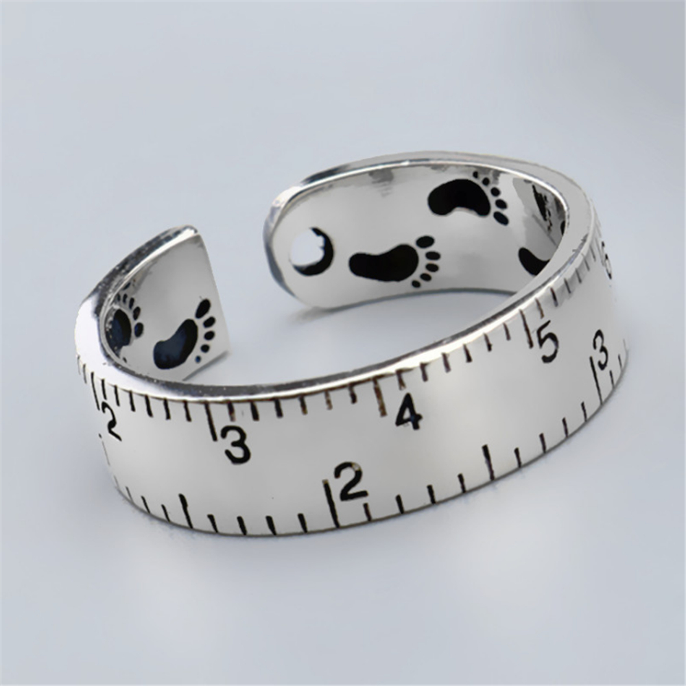 Hot Offers With Free Shipping Foot Print Digital Measuring Ruler Scale Unusual Women's Rings Punk Ring Discounts Sale(China)