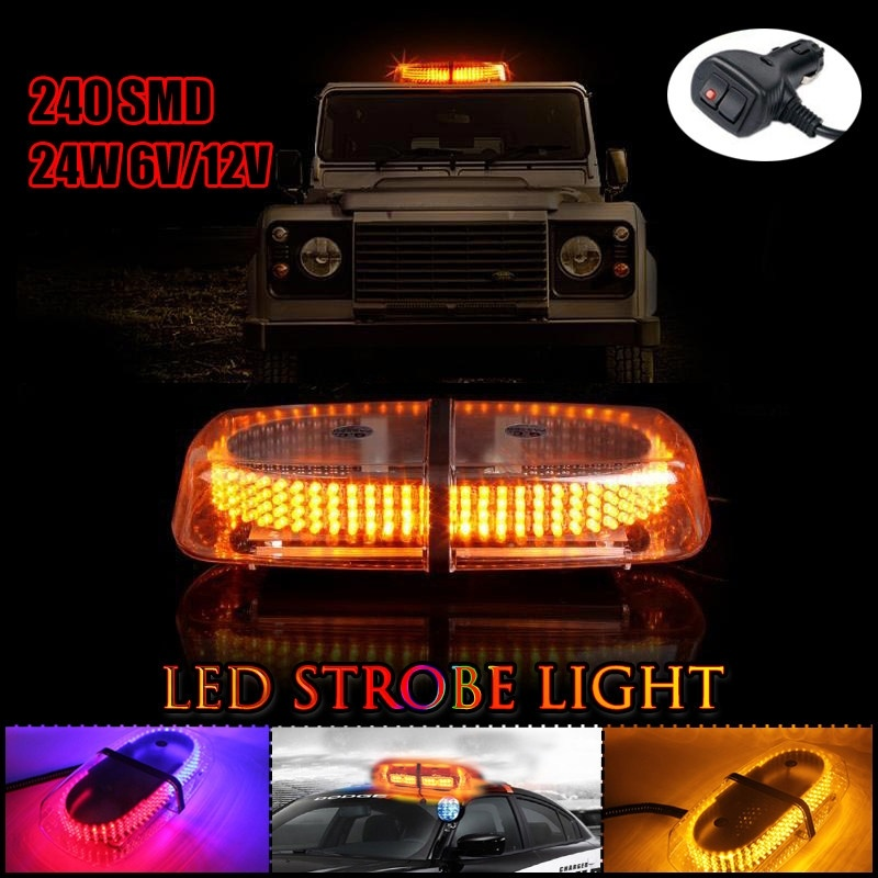 Mini Work Light Bar Emergency Warning Strobe Lamp Flashing Light Special LED Light Car Truck Dome Light 240 SMD LED Amber