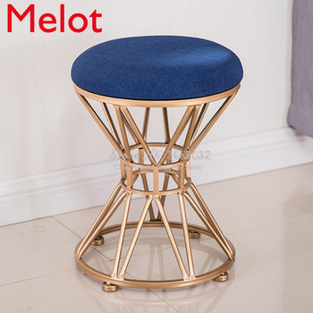 North gdeilipo dressing stool fashion wrought iron stool fabric change shoe bench bedroom dressing table chair nail makeup stool american style dressing stool solid wood leather pedal simple bed end stool continental long shoe bench bedroom makeup stool
