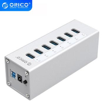 ORICO Aluminum USB 3.0 HUB 7 Port HUB with 12V2A Power Adapter and 3.3Ft. USB3.0 Date Cable - Sliver (A3H7)