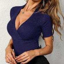 Chemise à encolure en v pour femme, à la mode, pour le bureau, couleur unie, moulante, tricot, été, 2021