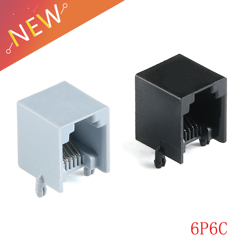 20 piezas de montaje vertical PCB RJ11 6P4C Modular Jack conector hembra