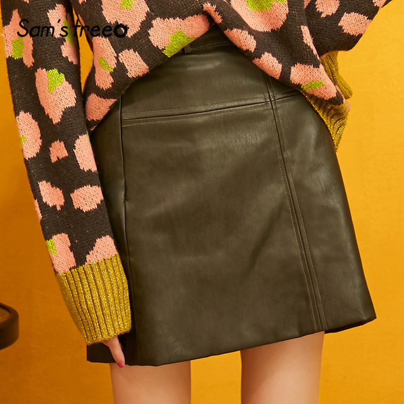 SAM'S TREE Green Solid A Line High Waist Leather Skirts Women 2019 Winter Pure Short Skinny Locomotive Office Ladies Daily Skirt