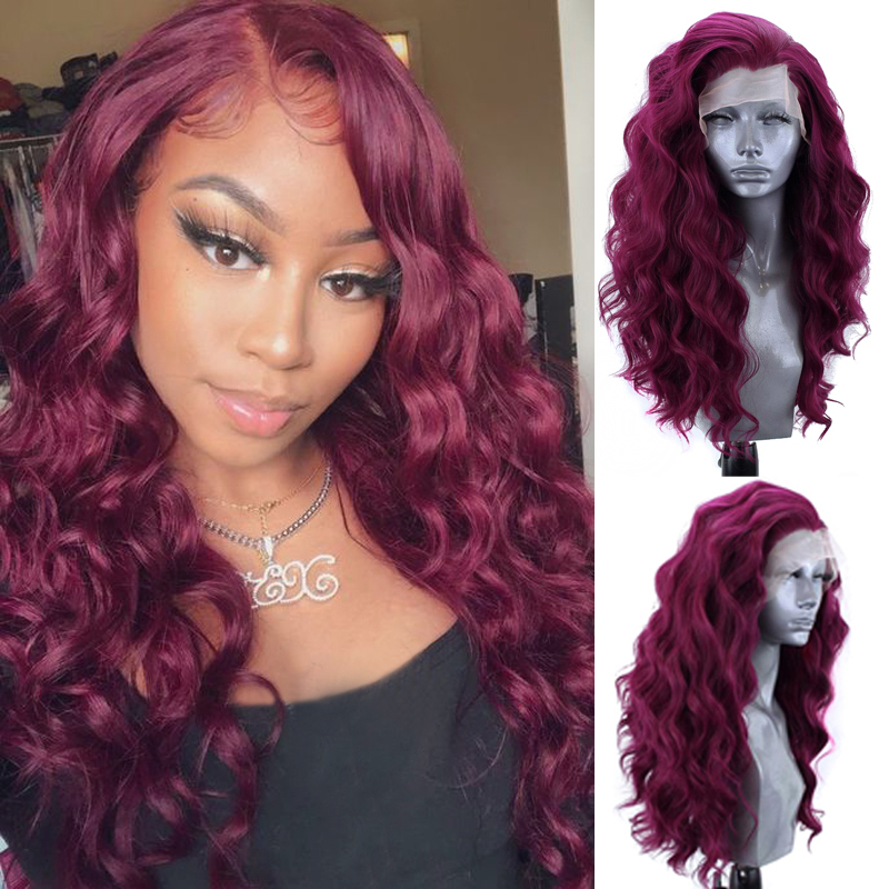 Charisma Side Part Long Wavy Wig Heat Resistant Hair Synthetic Lace Front Wig for Black Women Red Wigs Natural Hairline(China)