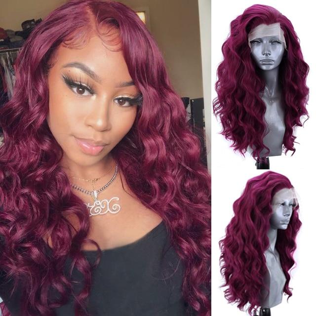 Charyzma przedziałek z boku długie faliste peruka żaroodporne włosów syntetyczna koronka peruka Front dla czarnych kobiet czerwone peruki naturalną linią włosów
