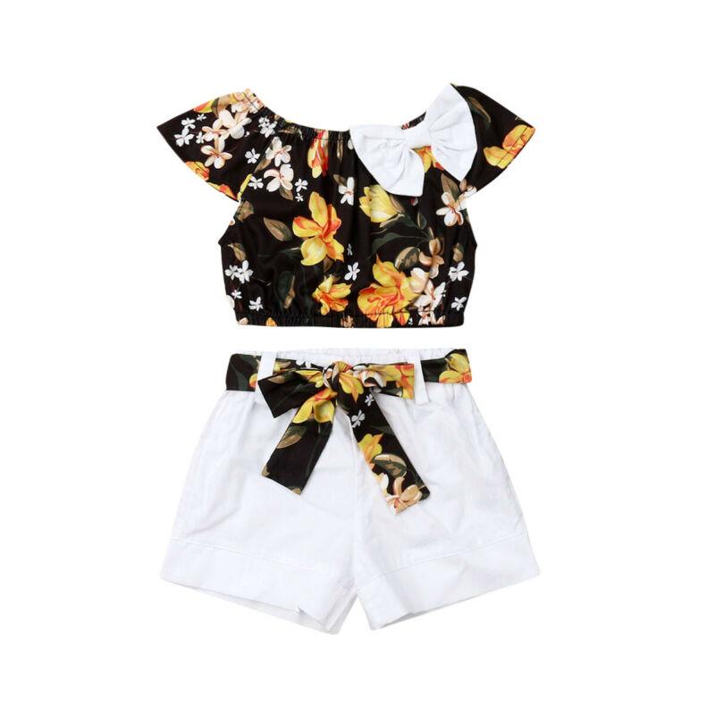 Marca 2 uds bebé recién nacido niños niña trajes de verano Floarl camiseta superior sólido pantalón corto moda Casual 1-5T