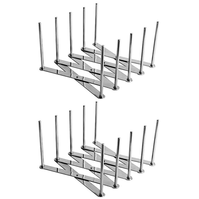 2 Pack Extendable Pot Lid Holders Multipurpose Steamer Rack Pans Glasses Holder Flexible Plate Organizer Kitchen Bakeware Cuttin