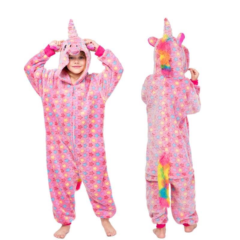 kids pyjamas for boys girls onesies flannel children animal unicorn pikachu stitch pajamas Set winter hooded sleepwear Christmas in Pajama Sets from Mother Kids