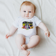 Baby baby conjoined cartoon character design round collar short sleeve climb clothes