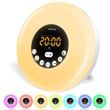 StillCool Alarm Clock Wake Up Light, Sunrise Sunset Simulation Table Bedside Lamp Eyes Protection with FM Radio, Nature Sounds